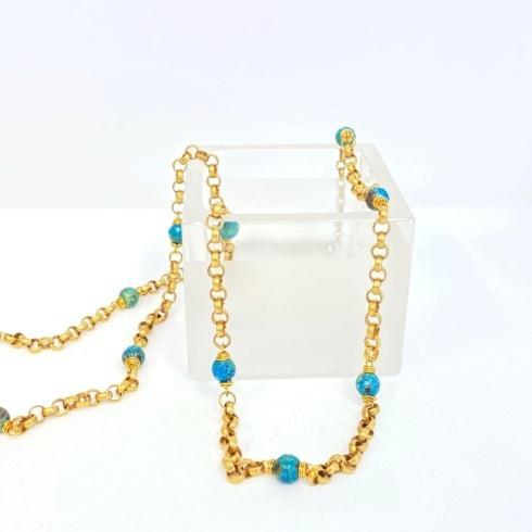 $198.00 Aqua Terra Jasper on Brass Rolo Necklace