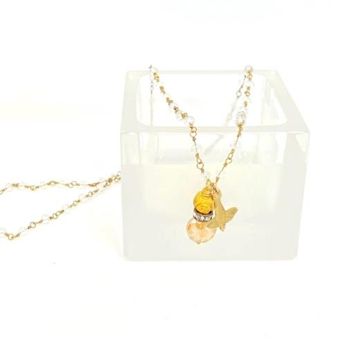 $145.00 Dove & Rose Bauble on Crystal Rosary Necklace
