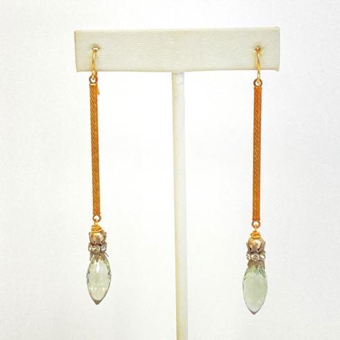 $134.00 Green Garnet with Rhinestone Crown Spacers Earrings