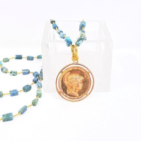 $189.00 Goddess of Wisdom on Bloodstone and Heishi Necklace