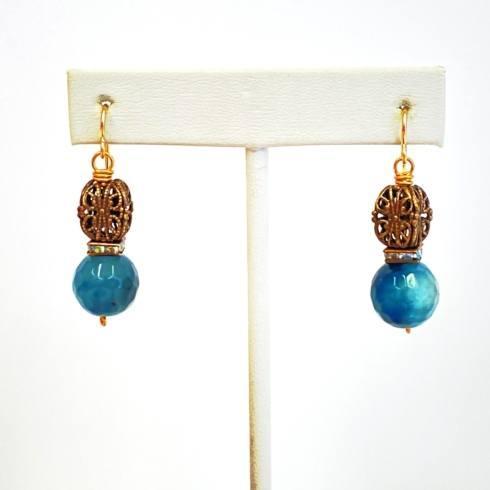 $87.00 Blue Quartz with Vintage Birdcage Bead Earrings