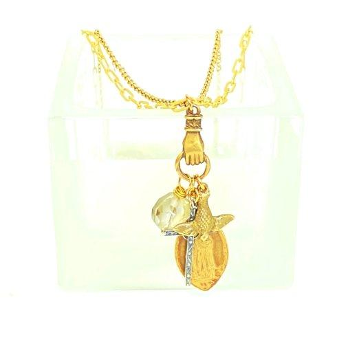 $195.00 Double Chain, Bronze Hand, Czech Crystal, Dove & Mental Illness Medal Necklace