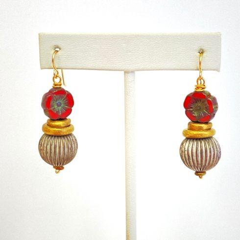 $85.00 Czech Flowers and Fluted Bead Earrings