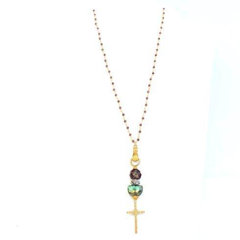 $196.00 Mimi\'s Cross, Bronze Hand, Half Moon Labradorite, Czech Flower on Garnet Rosary Necklace