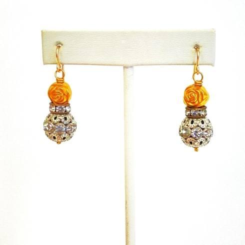 $100.00 Gold Rose & Rhinestone Bead Earrings
