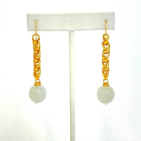 $105.00 Cloudy Quartz on Rolo Chain Earrings