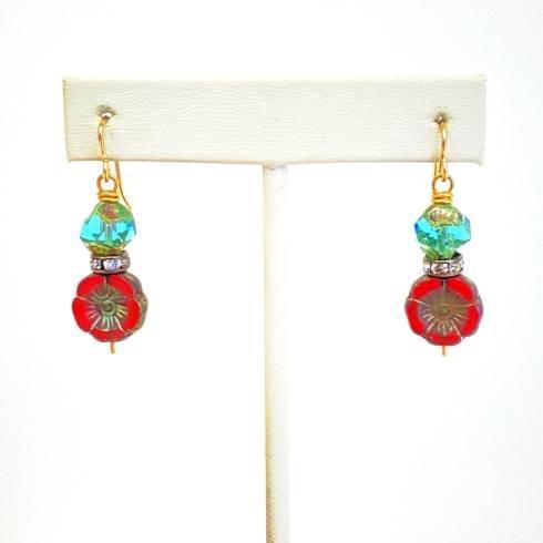$80.00 Czech Flower Beads and Rhinestone Earrings