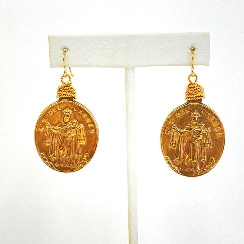 $89.00 Our Lady of Mount Carmel Bronze Earrings