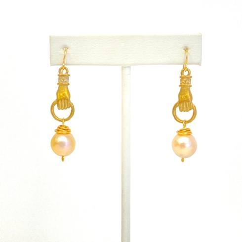 $123.00 Ming Pearl & Bronze Hand Earrings