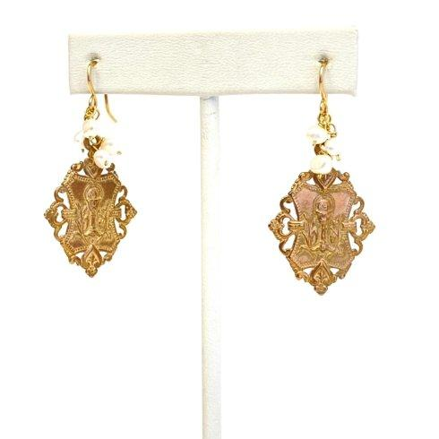 $100.00 Communion Medal & Pearl Earrings