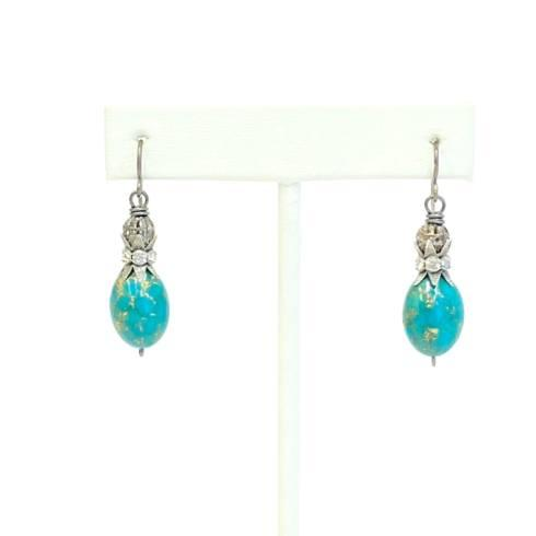 $113.00 Amazonite & Rhinestone Earrings