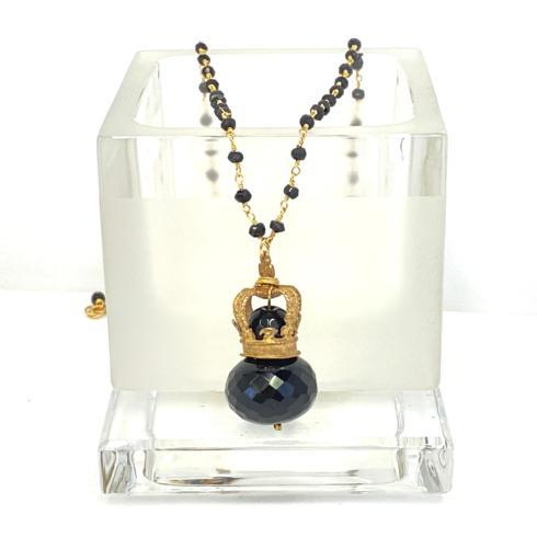 $198.00 Bronze Crown with Onyx on Onyx Rosary Necklace