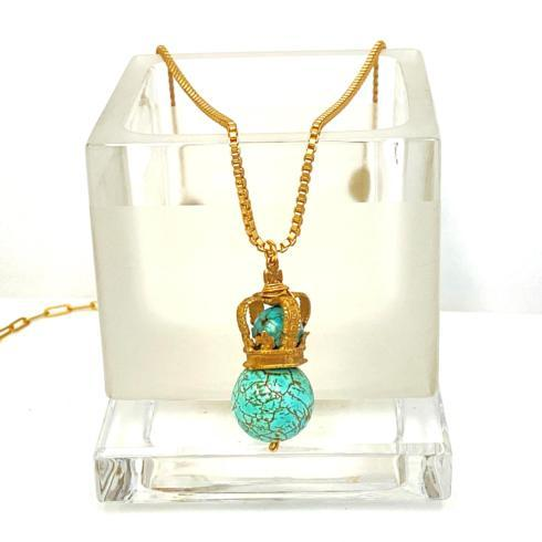 $198.00 Bronze Crown with Turquoise and Vintage Swirl Bead Necklace