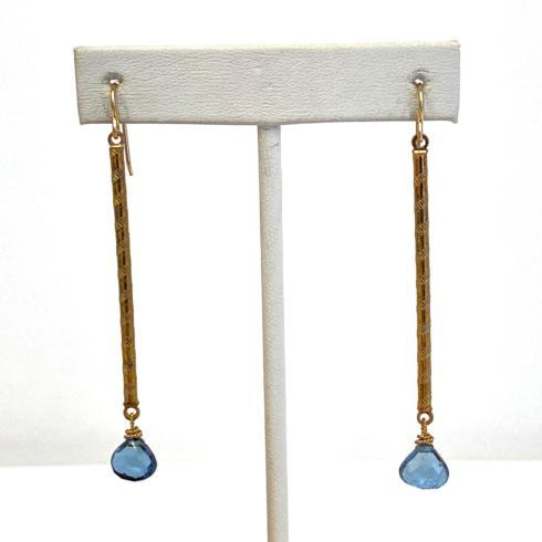 $138.00 Vintage Stick & Blue Topaz Earrings