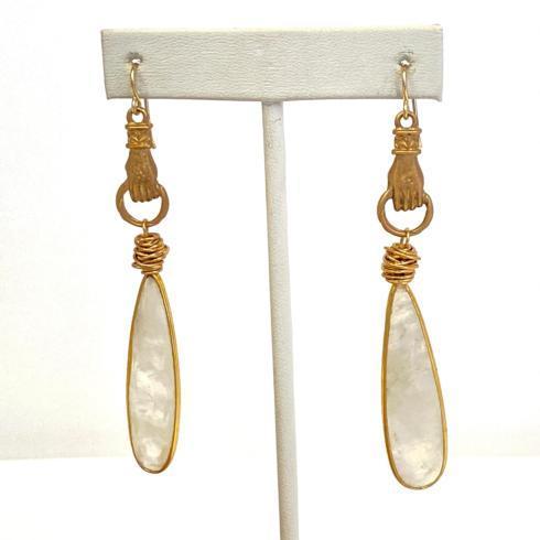 $194.00 Bronze Hand & Moonstone Paddle Earrings