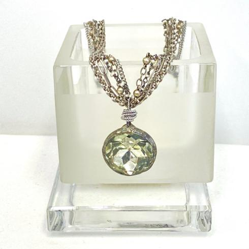 $242.00 5 Strand Bezeled Crystal & Pearl Necklace