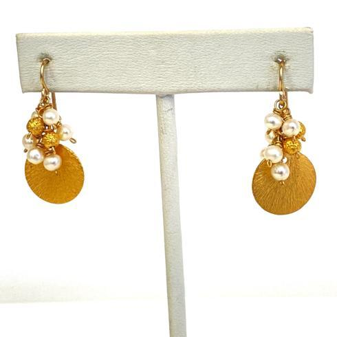 $112.00 Gold Vermeil Disc and Pearl Cluster Earrings