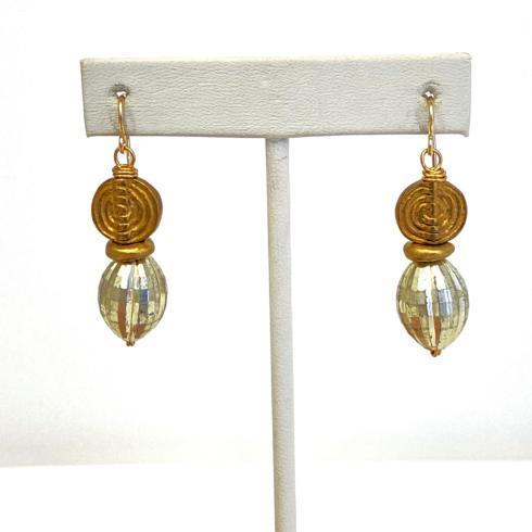 $94.00 Vintage Swirl Bead and Disco Bead Earrings
