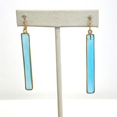 $118.00 Long Bezeled Blue Quartz Earrings