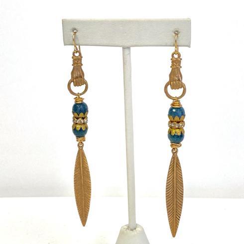 $138.00 Bronze Hand, Blue Quartz and Leaf Earrings