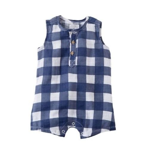 Navy Gingham Romper 0-3m collection with 1 products