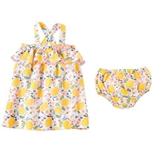 $32.00 Lemon Floral Dress Set 3-6m