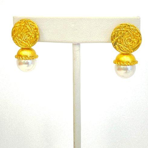 $85.00 Gold Plated Freshwater Pearl Drop Earrings