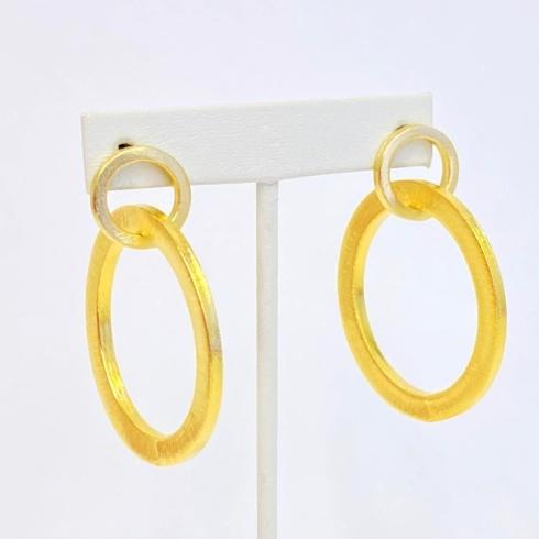 $76.00 Gold Plate 2 Round Flat Matte Link Earrings