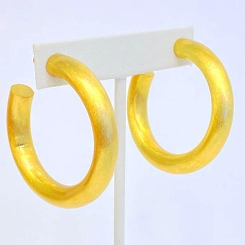 $65.00 Gold Plate Thick Matte Hoop Earrings