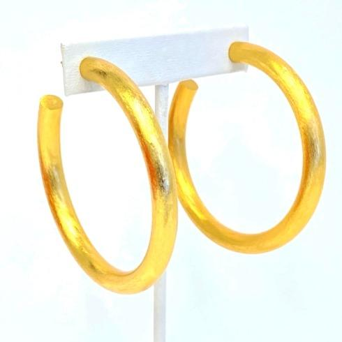$67.00 Gold Plate Matte Large Hoops