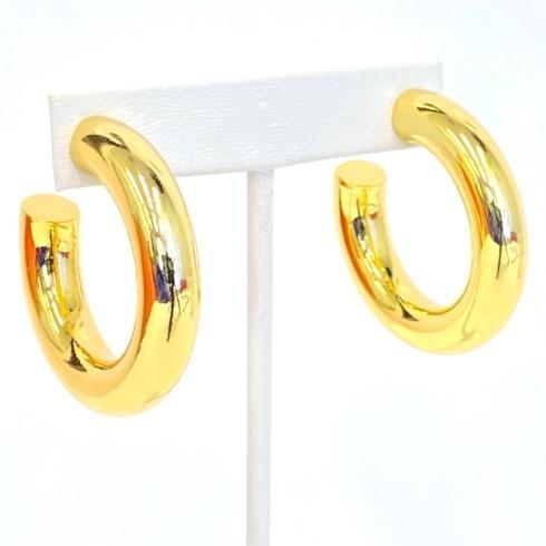 $64.00 Gold Plate Medium Thick Hoop Earrings