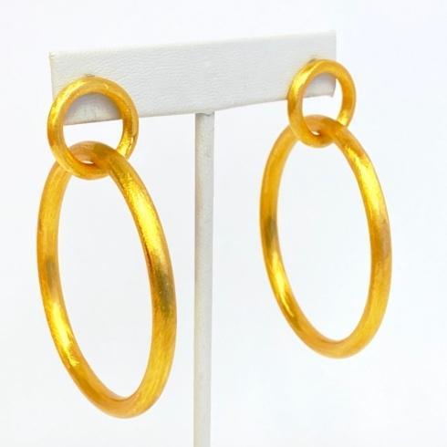 $67.00 Gold Plated Link Round Hoop Earrings