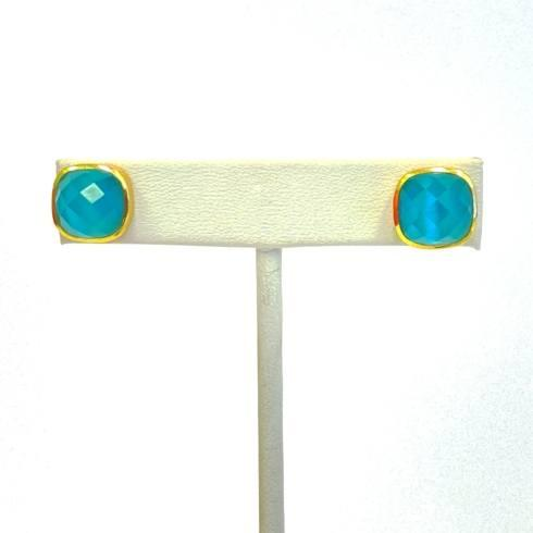 $56.00 Gold Plate Stud Faceted Stone Earrings, Blue