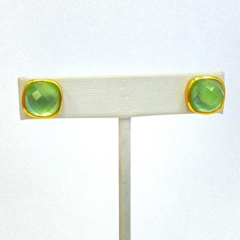 Gold Plate Stud Faceted Stone Earrings, Green