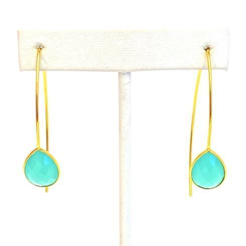 $49.00 Gold Plate Wire Earrings, Aqua
