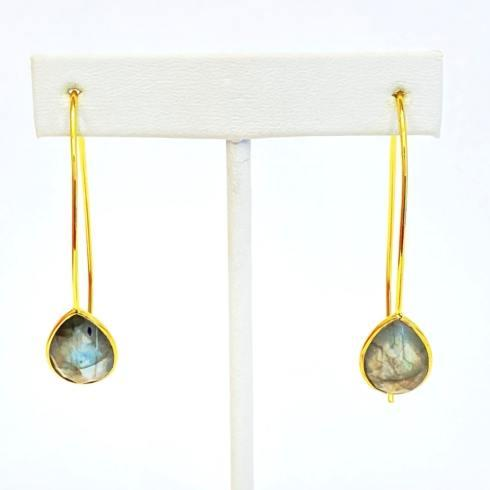 $49.00 Gold Plate Wire Earrings, Labradorite