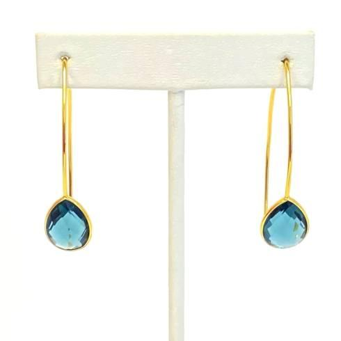 $49.00 Gold Plate Wire Earrings, London Blue