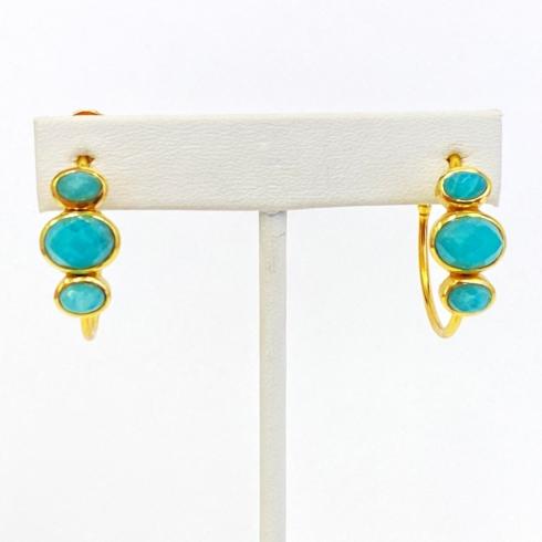 $105.00 Jafa Turquoise Gold Plate Hoop Earrings