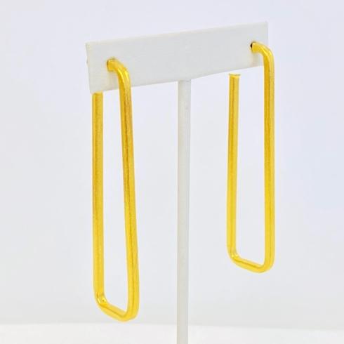 $54.00 Kezia Rectangular Gold Plate Hoop Earrings