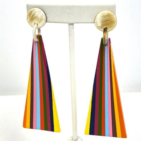 $60.00 Buffalo Horn Rainbow Triangle Earrings