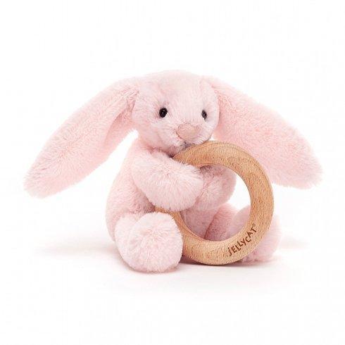 $22.50 Bashful Blush Bunny Wooden Ring Toy