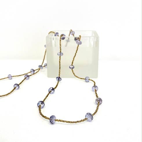 $235.00 Blue Quartz & Gold Heishi Bead Necklace