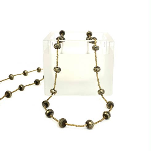 $198.00 Pyrite and Gold Heishi Bead Necklace