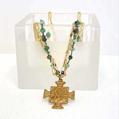 $168.00 Emerald Rosary 3 Strand Necklace