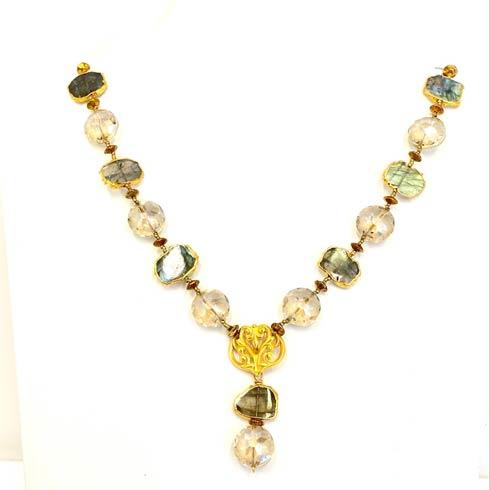 $354.00 Vintage Czech Bead and Labradorite Necklace