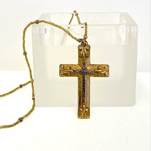 $160.00 Double Cross and Gold Heishi Bead Necklace