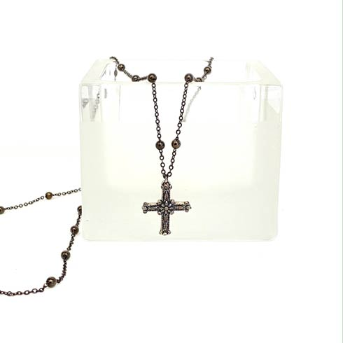 $116.00 Sterling Silver Cross on Black Chain Necklace