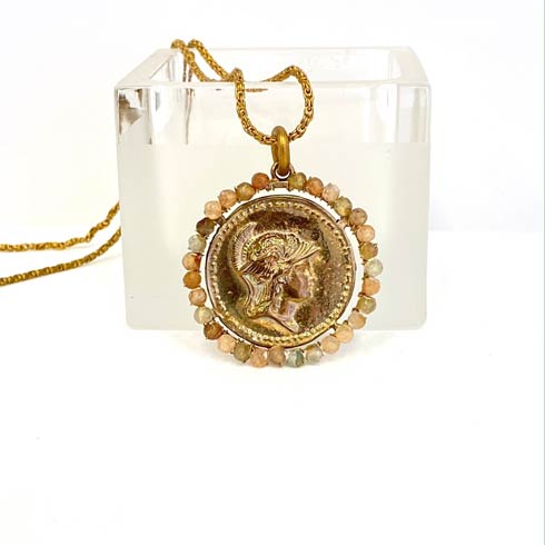 $198.00 Long Vintage Chain with Athena Medal Necklace