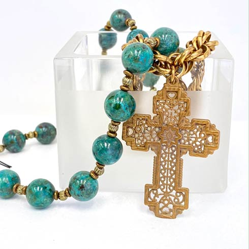 $278.00 Turquoise and Chain with Victory Medal 4 Strand Necklace