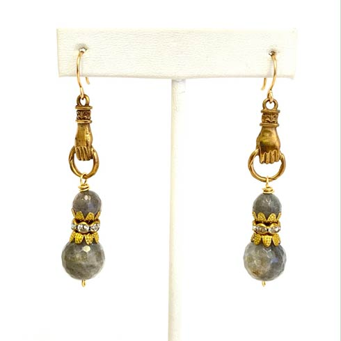 $126.00 Labradorite and Hand Medal Earrings